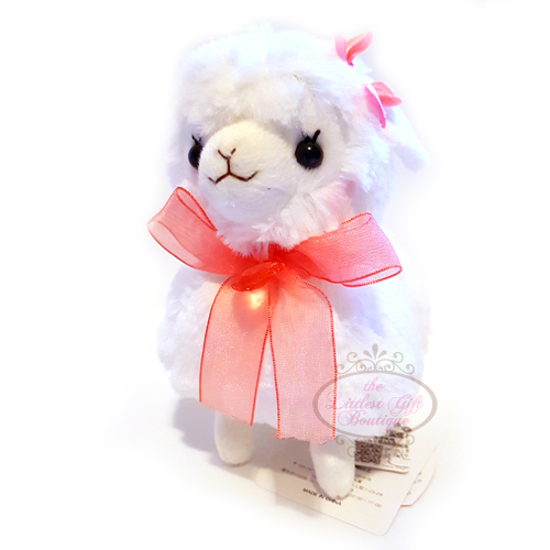 Alpacasso Girly Kids Alpaca M White Pink Ribbon 16cm