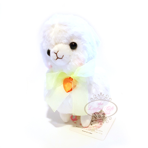 Alpacasso Girly Kids Alpaca M White Yellow Ribbon 16cm