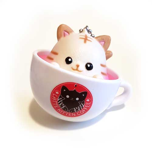 Latte Kitten Coffee Keychain Light Brown 5cm