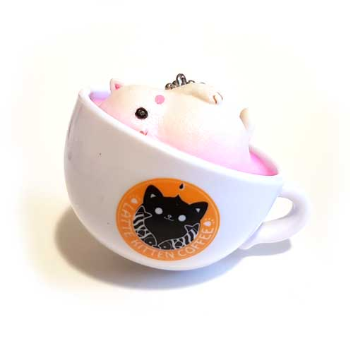 Latte Kitten Coffee Keychain Side 5cm