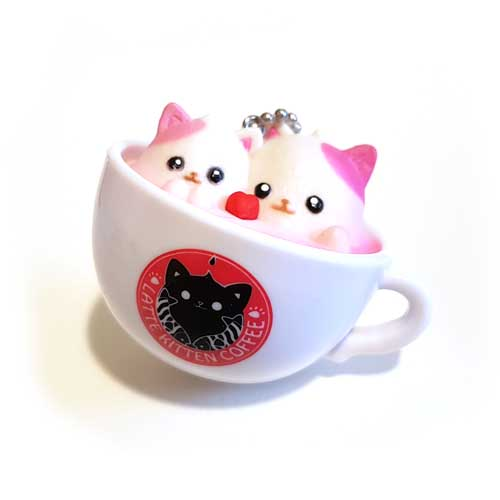 Latte Kitten Coffee Keychain Two Hearts 5cm