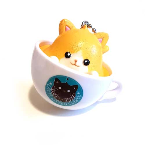 Latte Kitten Coffee Keychain Yellow 5cm