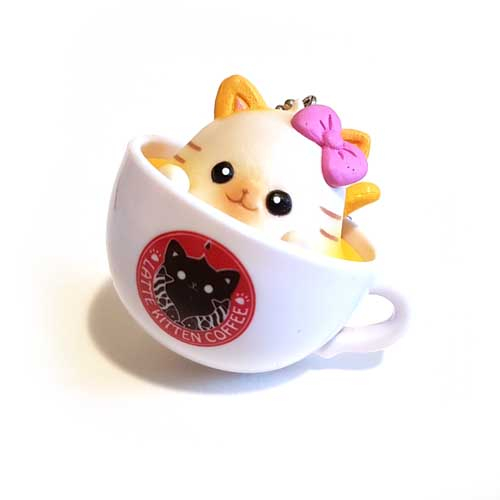 Latte Kitten Coffee Keychain Yellow/Pink Bow 5cm