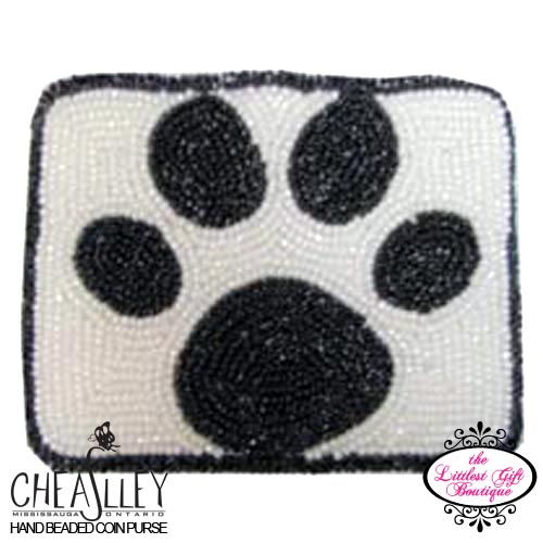 Black Paw Print on White Rectangle