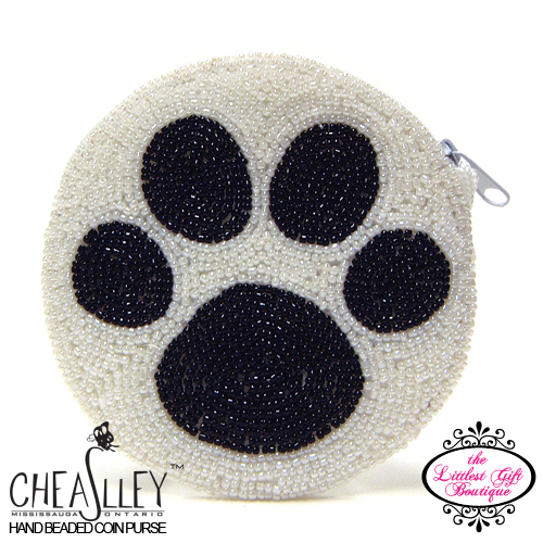 Black Paw Print on White Circle