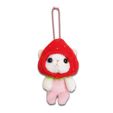 Choo Choo Cat Plush Strawberry Keychain