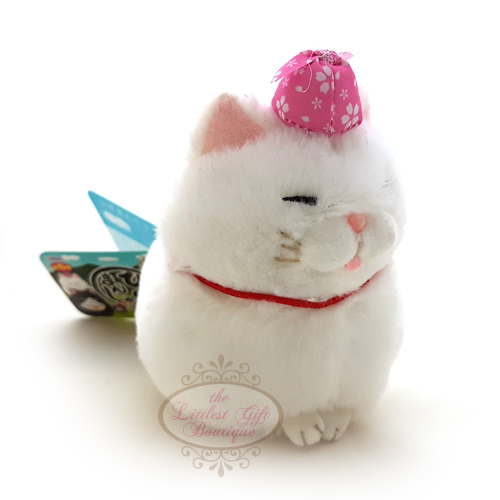 Hige Manju Cat Picnic Keychain White 9cm - Click Image to Close