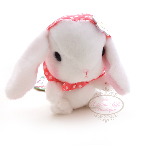Pote Usa Loppy Rabbit Bonnet M White 14cm