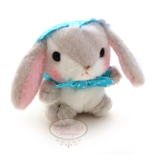 Pote Usa Loppy Rabbit Bonnet Keychain Grey 10cm