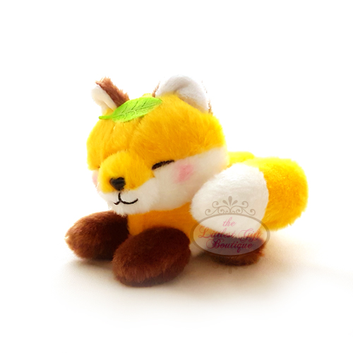 Fox Lying Down Keychain Yellow with Leaf