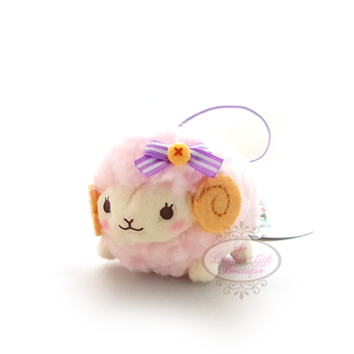 Wooly the Sheep Natural S 6cm Pink