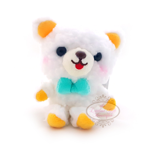 Teddy Sewing Bear Keychain White 9cm