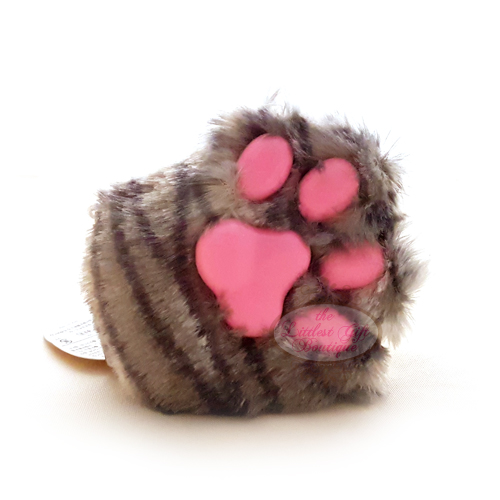 Cat Paw Keychain Plush Grey Stripes