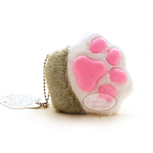 Cat Paw Keychain Plush Grey and White