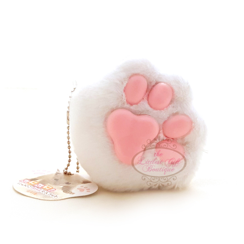 Cat Paw Keychain Plush White