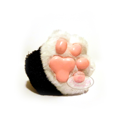 Cat Paw Keychain Plush White and Black